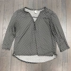 H&M Printed 3/4 Sleeve Henley Black Grey Shirt Top